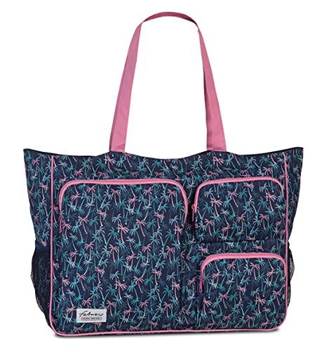 Fabrizio Strandtasche groß XXL viele Taschen Freizeittasche Urlaubstasche Sommer mit Reißverschluss (Marine)