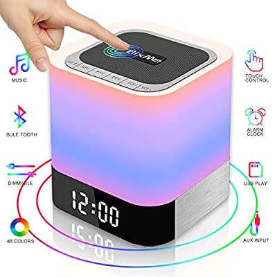 BixMe LED Bluetooth Speaker,Night Light Dimmable Wireless Speaker,Portable Wireless Bluetooth Speaker,48 LED Changing Color,Touch Control Bedside Lamp,Alarm Clock,MP3 Player,Best Electronic Gift. by BixMe