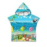 Treer Niños Poncho de Toalla de Playa con Capucha, Infantiles Grande Bebé Manta Nadando Ducha Piscina Toalla de Baño Albornoz para Niños Niñas 2-7 años (60x60cm,Cangrejo)