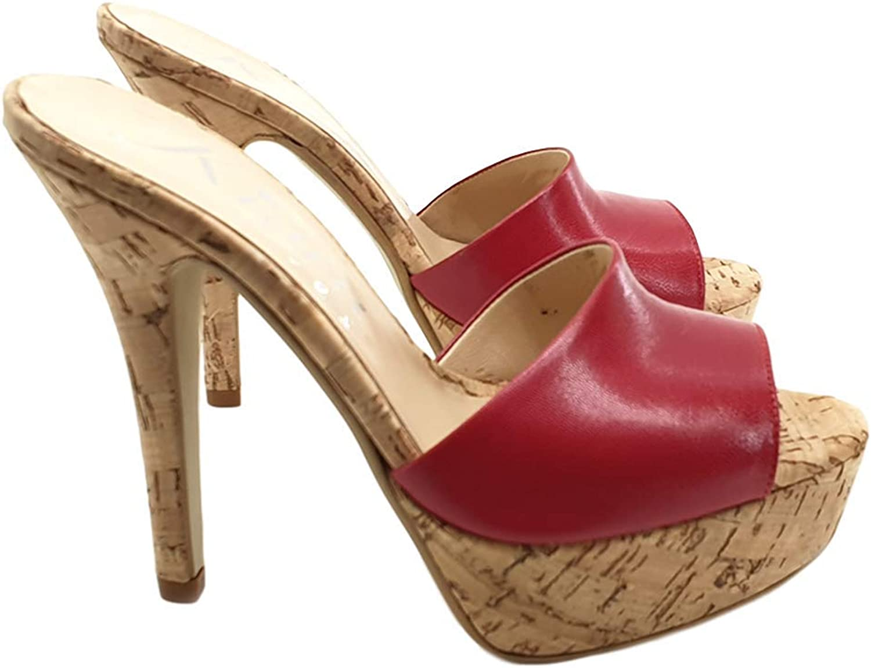 Kiara shoes RED Leather Clogs Cork Base - KE103 red