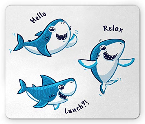 Lunarable Baby Shark Mouse Pad, Cartoon Fish Characters with Hello Relax Lunch Letterings, Rectangle Non-Slip Rubber Mousepad, Standard Size, Blue White