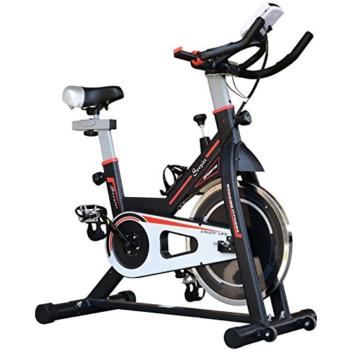 Homcom Vélo d'appartement Cardio vélo Biking écran Multifonction Selle et Guidon réglable Noir Rouge Blanc