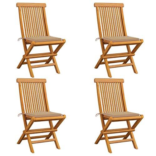 vidaXL 4X Madera de Teca Sillas de Jardín con Cojines Asiento Patio Terraza Balcón Muebles Mobiliario Cocina Comedor Exterior Respaldo Beige