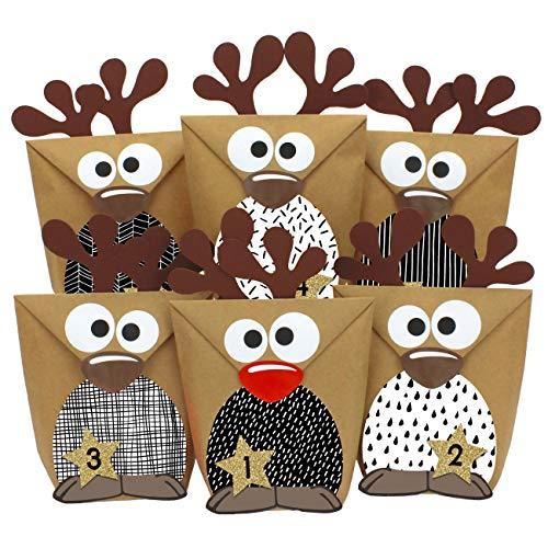 Papierdrachen Rentier Adventskalender zum Befüllen - mit schwarz-weißen Bäuchen zum selber Basteln - 24 Tüten zum individuellen Gestalten und zum selber Füllen - Weihnachten 2020 für Kinder