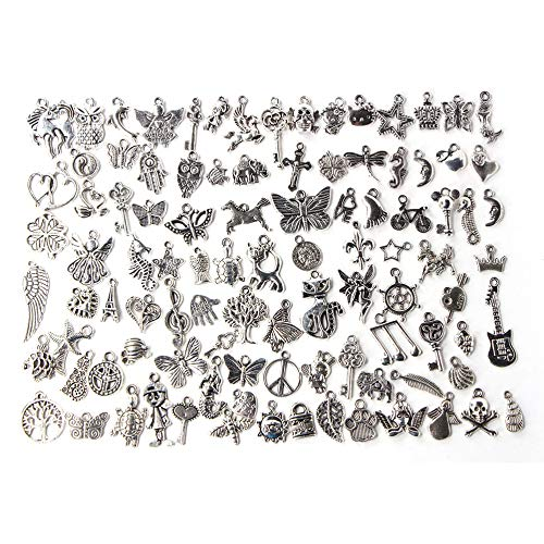 Zhaodong Belle 100pcs Mixte Antique Couleur Argent Bracelets Européens Charme Pendentifs De Mode Bijoux DIY Charmes À La Main Zhaodong
