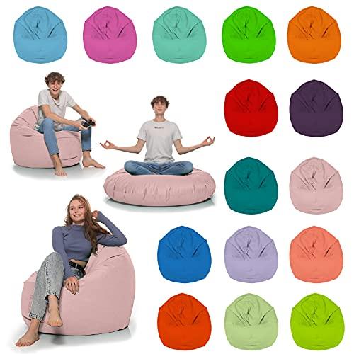 HomeIdeal - Sitzsack 2-in-1 Funktionen Bodenkissen für Erwachsene & Kinder - Gaming oder Entspannen - Indoor & Outdoor da er Wasserfest ist - mit EPS Perlen, Farbe:Puderrosa, Größe:110 cm Durchmesser