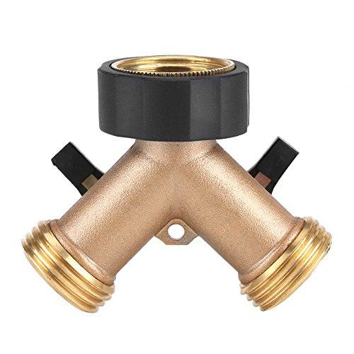 Répartiteur de robinet de jardin en laiton robuste 2 voies, adaptateur de raccord de tuyau de 3/4 \3/4\ pour l'irrigation de jardin(Europäisches Gewinde)