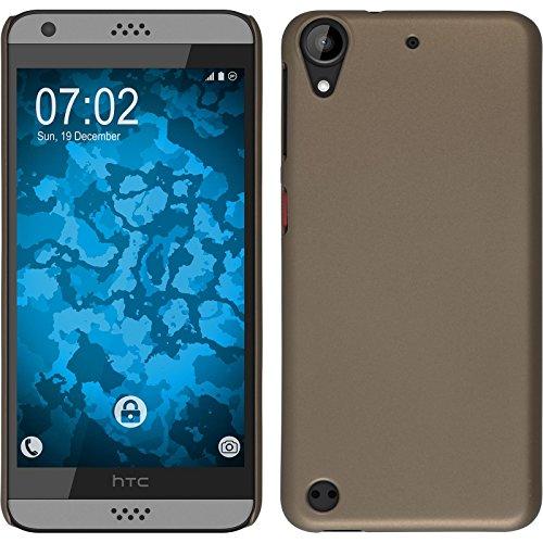 PhoneNatic Hülle kompatibel mit HTC Desire 630 - Hülle Gold gummiert Hard-case + 2 Schutzfolien