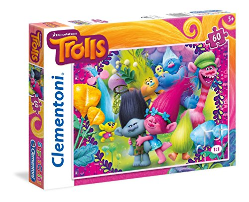 Clementoni - Puzzle 60 Piezas Trolls: a Frown is a Smile Upside Down (26958.7)