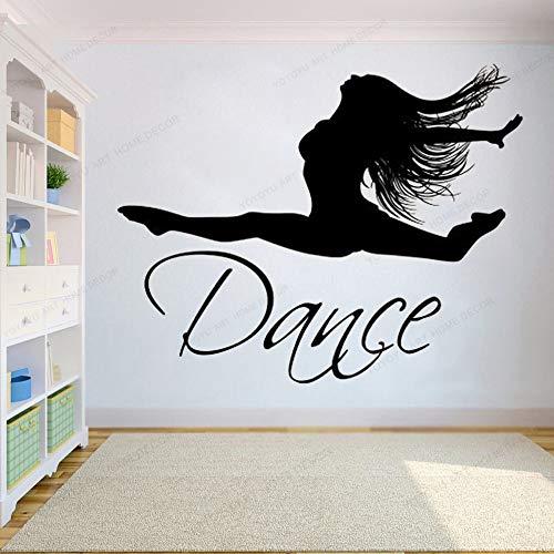 wZUN Bailarina Tatuajes de Pared Vinilo Pegatinas de Pared Ballet Danza decoración de la Pared Estudio de Baile movible 42X53 cm