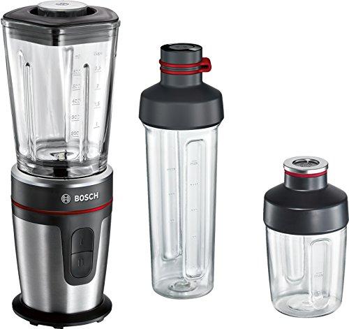 Bosch MMBM7G3M Standmixer, ThermoSafe Glasbehälter, ToGo Mix-/Trinkbecher, 350 W, schwarz / edelstahl gebürstet