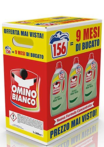 Omino Bianco Detersivo Lavatrice Liquido, Fresco Profumo con Essenza di Aloe Vera, Formato Convenienza, 156 Lavaggi, 2600 ml x 3 Confezioni