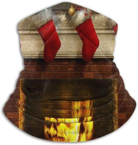 Zjipeung Weihnachten Weihnachten Neujahr Kamin Winddichtes Fleece Halsrohr Wärmer Unisex Ski Halsmanschette Weiche elastische Sturmhaube Halbmaske für den Winter Wärmespeicher