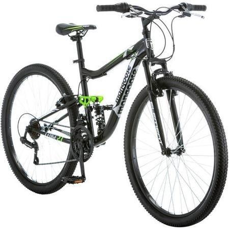 27.5' Mongoose Ledge 2.1 Men's Bike for a Path, Trail & Mountains,Black, Aluminum Full Suspension Frame, Twist Shifters Through 21 Speeds