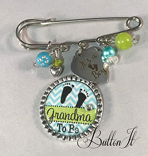 Grandma To Be pin, Mom To Be pin, Aunt To Be, PERSONALIZED Pin, Baby Shower gift, pregnancy announcement, gender neutral, footprints, gender reveal party, birth announcement