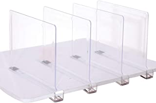 Sooyee 4 PCS Acrylic Shelf Dividers,Perfect for Closets Kitchen Bedroom Cabinets Shelving Separators to Organize Clothes, Books,Towels and Hats, Purses,Thickened Wood Shelf Dividers, Clear