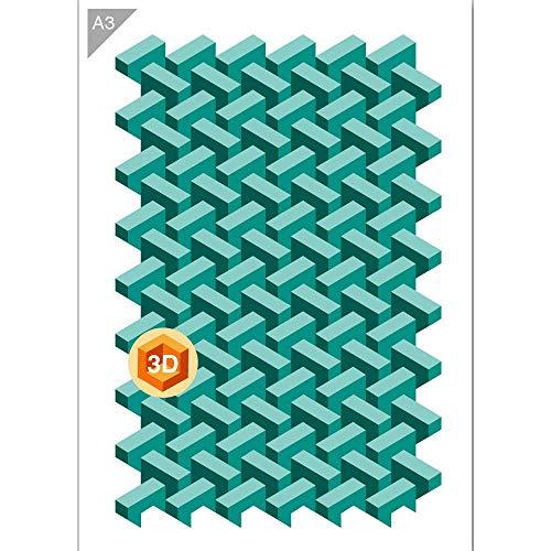 QBIX Ziegel Schablone - Backstein Wand Schablone - Backstein Muster - 3 Schichten - A3 Größe - wiederverwendbare kinderfreundliche DIY Schablone zum Malen, Backen, Basteln, Wand, Möbel