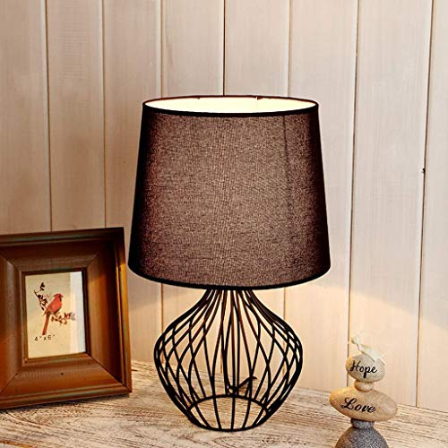 Lámparas de mesa para dormitorio, casquillo E27, base hueca, metal negro, tejido de lino, para salón, dormitorio, clase energética A +, color blanco