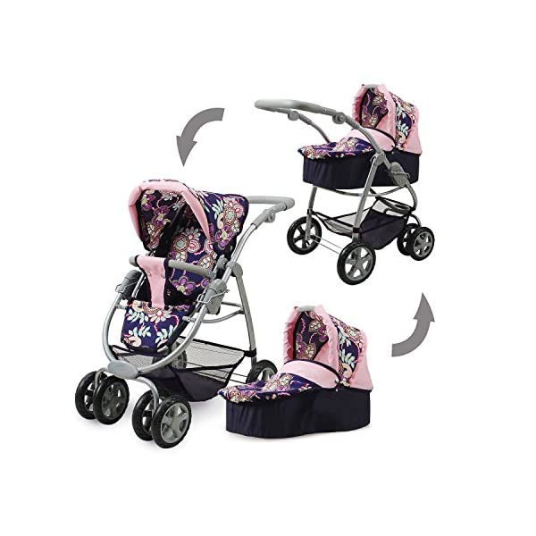 Knorrtoys 90778 Blue Flowers knoortoys Doll Carriage Coco Knorrtoys Height adjustable handle (43-82 cm) Purchases can be stored in the shopping basket Used as a pram with carrycot or sports buggy it always looks great 2