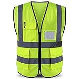 ShyaWorld Chaleco Reflectante de Seguridad Adulto Trabajo con bolsillos de Alta Visibilidad. Cintas Reflectivas y Ligeros. Ideal para trabajo. Tallas de Adulto. (Amarillo MALLA, XL)