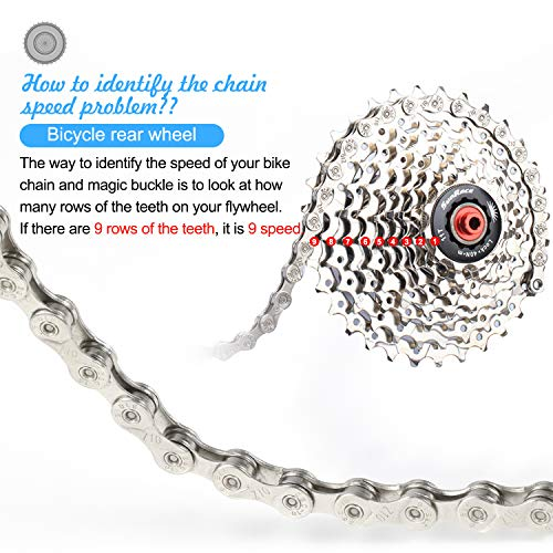 TAGVO 10 Speed Chain Plating Silver 116 Link with Quick Chain Chain Link Power Lock Chain Hook, Silver