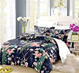 REALIN Peafowls Duvet Cover Set Chinese Style Bedding Noble Green Peacock Bed Sets 2/3/4PCS Quilt Covers/Sheets/Pillow Shams,Twin/Full/Queen/King (E,King-229x259cm-4PCS)