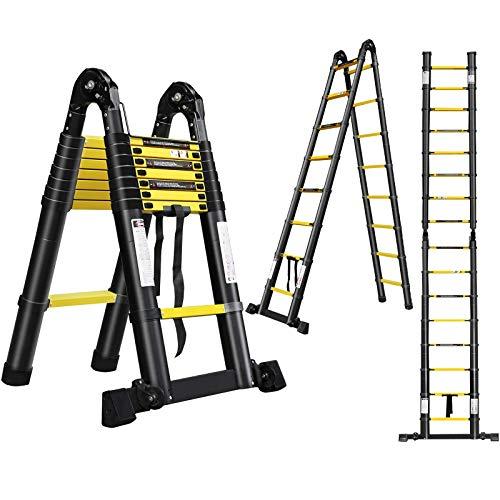 HENGMEI Escalera telescópica de aluminio, 5 m, escalera deslizante, escalera extensible, escalera extensible de aluminio, escalera telescópica multiusos, color negro