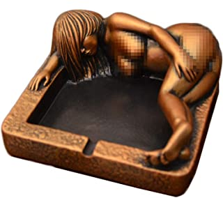 oocc Sexy Women Beauty Figurine Ashtrays Cigar Ash Tray for Home Coffee Pavilion Restaurant Bar Decoration (Golden)