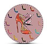 EOP Orologio da Parete Muto, Diverse Scarpe da Donna con Tacco Alto Modello Moderno Orologio da Parete Ragazza Camera Decorazione Orologio Femminile alla Moda Negozio di Scarpe Orologio