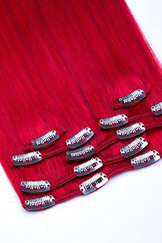 Clip In Extensions Set 100% Echthaar 7 teilig 70g Haarverlängerung 45cm Clip-In Hair Extension Nr. Rot