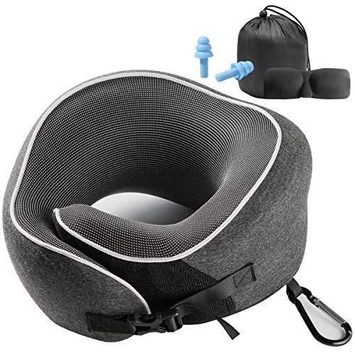 Nackenkissen für die Entspannung zu Hause,Weiche und Bequeme Oberfläche,Wirksam gegen Nackenermüdung, Unimi 2020 Schnallen-Design Reisekissen mit schlafmaske,Karabiner Tasche für Nickerchen