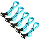 JacobsParts 5-Pack 18' SATA 3.0 Cable SATA3 III 6GB/s Right Angle SSD HDD Hard Drive, Blue
