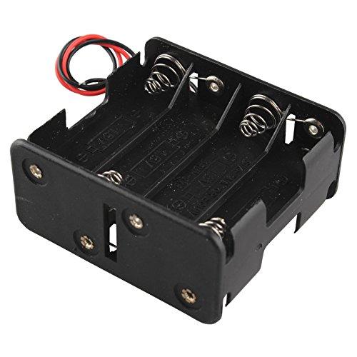 HALJIA, Portabatterie per 8 batterie AA, 12 V, 4 batterie per ogni lato, con terminali a clip e fili conduttori di 15,2 cm