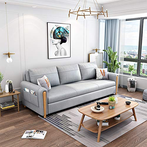 Sleeper Sofa Couch Compact Nordic Fabric Living Room Loveseat Soft Sofa Bed,Multifunctional Folding Storage 2 in 1 Pull-Out Sofa Couch Convertible Bed for Small Space,Apartment,light gray,1.8M