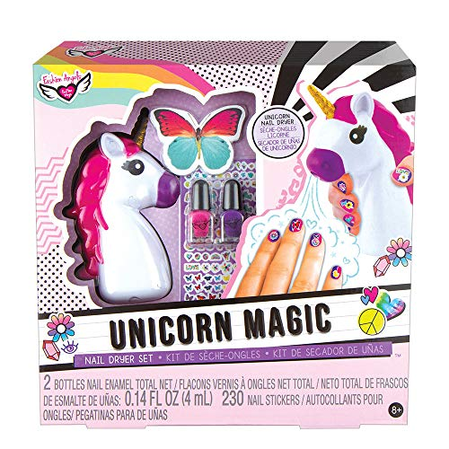 Fashion Angels Unicorn Magic Nail Dryer Set (12128) Nail Gift Set for Girls Ages 8 and Up,Brown/A