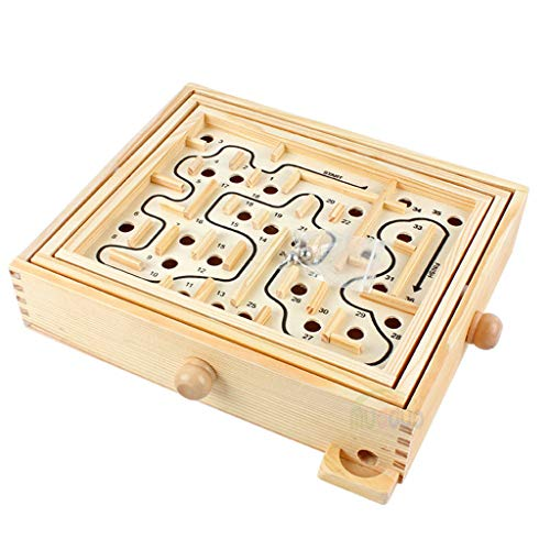 ZAU 2020 New Popular Wood Table Maze/Balance Board Table Maze Solitaire Game for Kids and Adults Best Gift for Adult Boy Under 5 Pegged Puzzles Puzzle Accessories Puzzle Play Mats Sudoku Puzzles