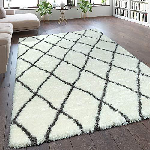 Paco Home Teppich Wohnzimmer Creme Weiß Weich Groß Shaggy Flokati Rauten Muster Hochflor, Grösse:160x230 cm