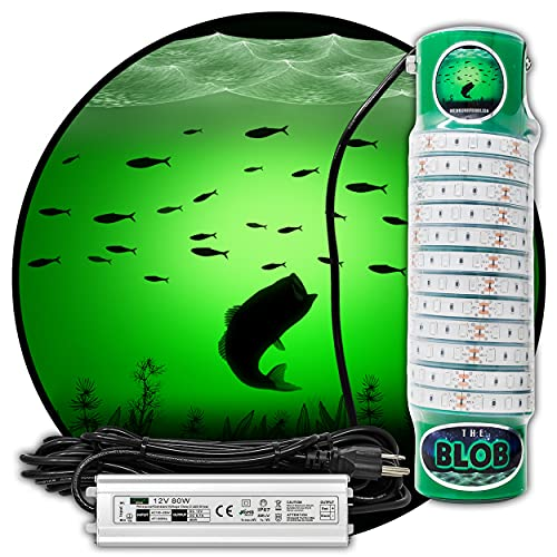Green Blob Outdoors New Underwater Fishing Light L7500/15000 with 30ft or 50ft 110 Volt AC Power Cord, Crappie, Snook, Fish Attractor (15000, 50Ft Cord)