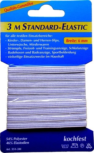 3m Gummilitze Gummiband Breite: 6mm Weiss Standard-Elastic, 0084