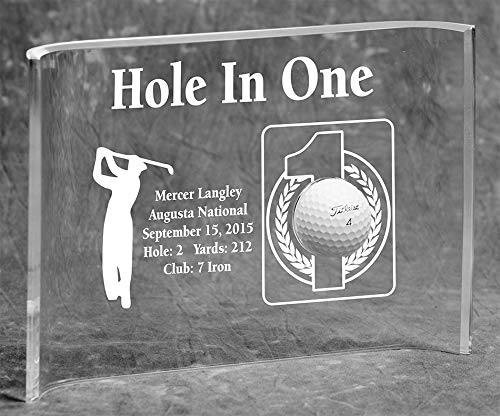 Eureka Golf Products Hole-in-One Golfer Laser Etched 7x10 Acrylic Crescent Award-Male