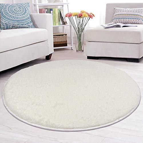 Lulalula Teppich, rund, zottelig, weich, für Wohnzimmer, Schlafzimmer, Boden, dekorativer Teppich, Spielteppich, Kinderzimmer, 100cm Durchmesser Cremefarben/Weiß