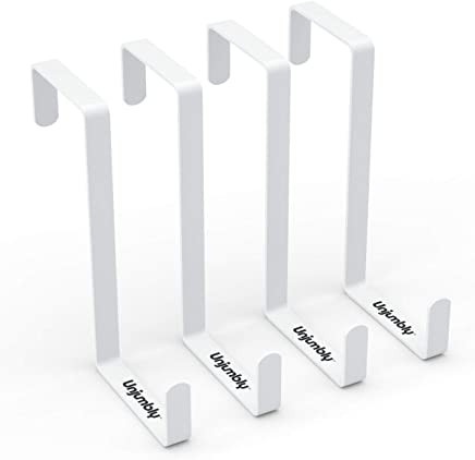 Over The Door Hook Fitting Two Sized Doors, from Unjumbly - 4 Pack - Sturdy Metal Reversible Over Door Hooks (White)