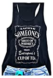 GEMLON Cute Girl Rodeo Outfits for Women Southern Tops Country Girl Tank Summer Sleeveless Whiskey Shirt Size S Black