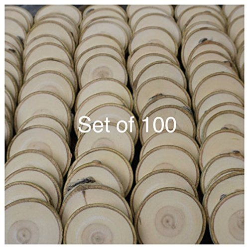 "Set of 100 3""-3.5"" Wood Slices (Aspen) - Rustic Wedding Favors - Tree Slices - Wood Discs - Tree Log Coasters - Craft Pieces - Coasters"