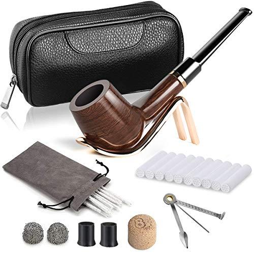 DIMJ De Billar De Madera Pipas para Tabaco con Cuero Bolsa de Pipa de Fumar, Madera Plegable Soporte para Pipas de Fumar, 3 en 1 raspador y Otro Accesorios Pipas