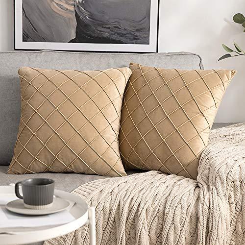 MIULEE 2 Piezas Funda de Cojines Terciopelo Suave Color Sólido Funda de Almohada Moderna Duradera Decoración para Habitacion Sofá Comedor Cama Dormitorio Oficina Sala de Estar 40x40cm Caqui