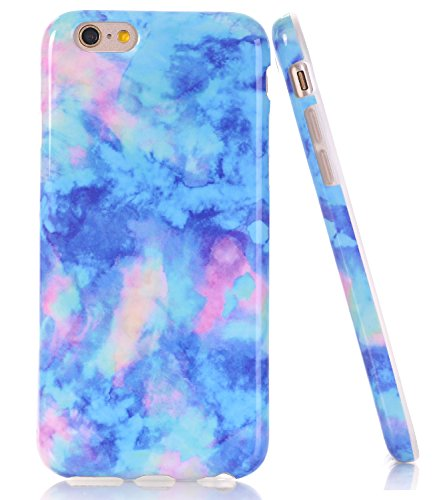 BAISRKE Light Blue Marble Design Case Slim Flexible Soft Silicone Bumper Shockproof Gel TPU Rubber Glossy Cover Phone Case Compatible with iPhone 6 Plus / 6s Plus [5.5 inch]