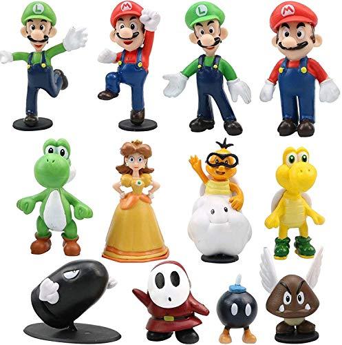 Gxhong 12PCS Figuras de Super Mario Juguete Yoshi Mushroom Donkey Mario Bros Luigi PVC Figura de Acción Usado para Niños Decoración de La Torta del Cumpleaños Fiesta Suministros