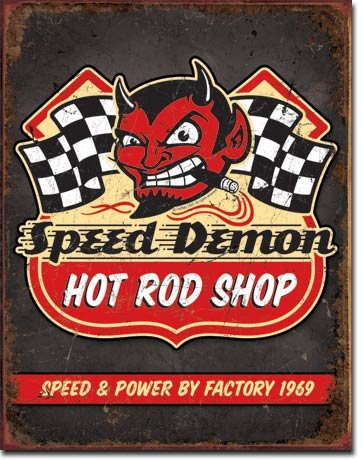 The Finest Website Inc. New Speed Demon Hot Rod Shop 16' x 12.5' (D1744) Rustic Aged Appearance Tin Sign