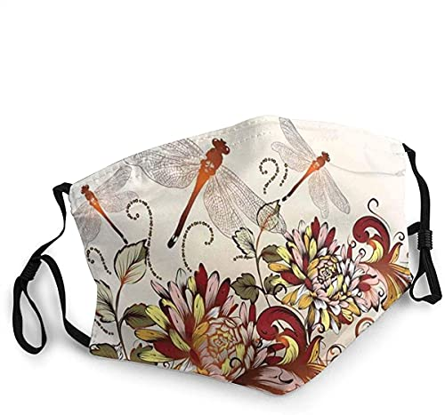 Face Mask Spring Flower Field Dragonfly Print Balaclava Unisex Reusable Windproof Mouth Bandanas Camping Motorcycle Running Made in USA